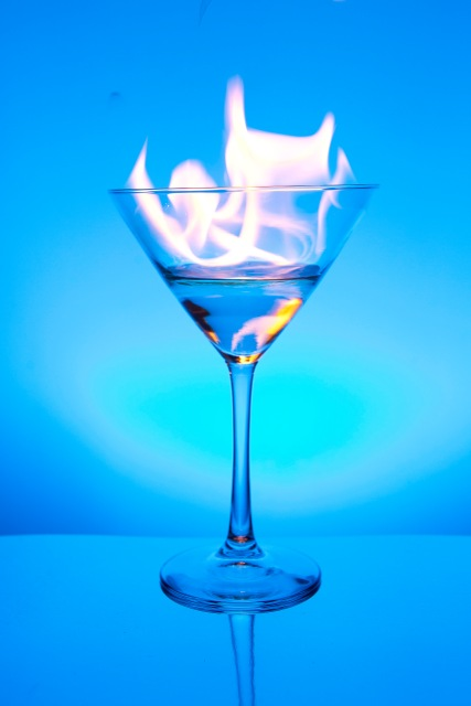 Flaming Blue Martini