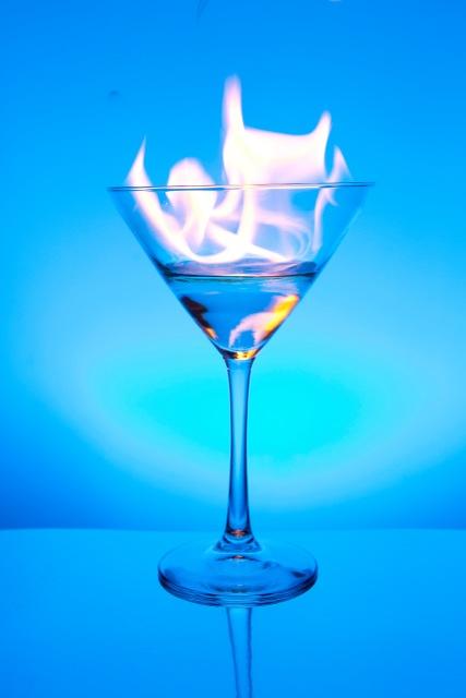 Flaming Blue Martini