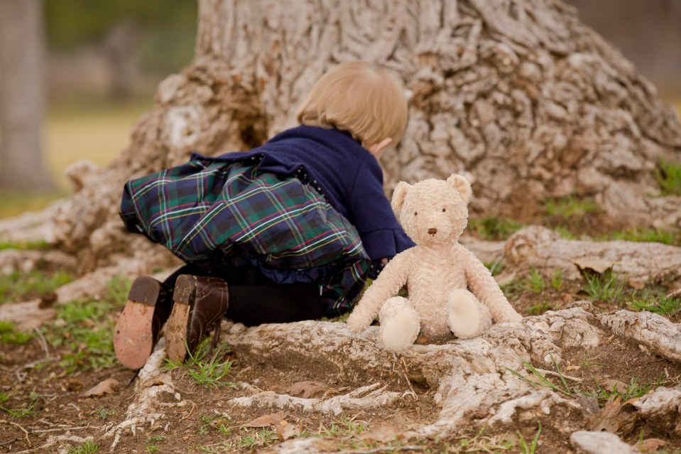 Morgan and Bear at tree